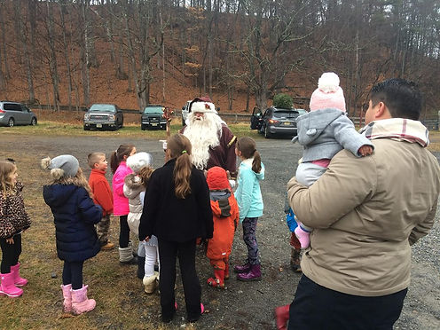 Santa Loves t Visit at Shale Hills Farm.