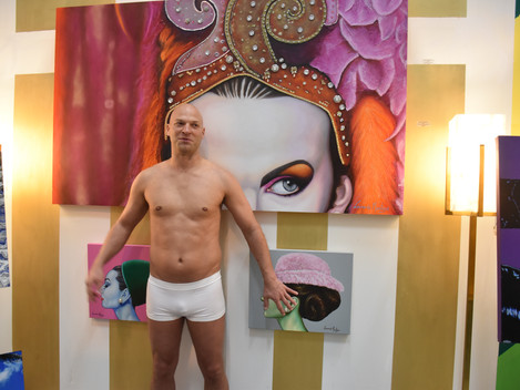 Camouflage body painting at art gallery