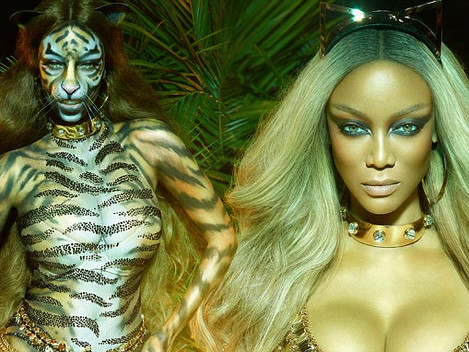 TYRA BANKS TRANSFORMS INTO A FIERCE TIGRESS FOR PAPER MAGAZINE, Body painted By Avi Ram.