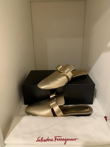 Ferragamo Gold Bow Slides