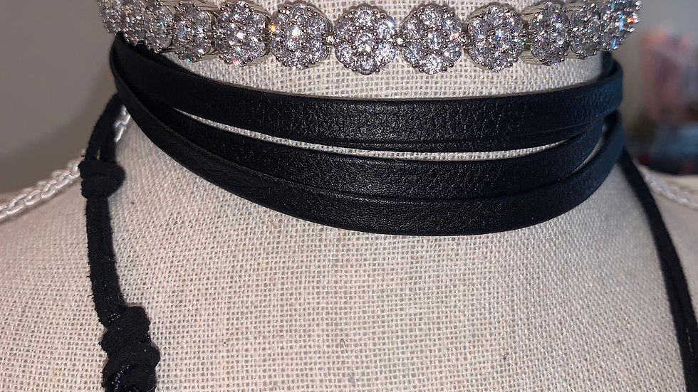 Crystal/Leather Chocker Necklace