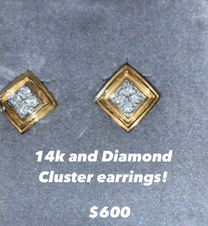 14K and Diamond Cluster Earrings