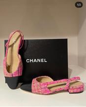 Chanel Tweed Sling Backs