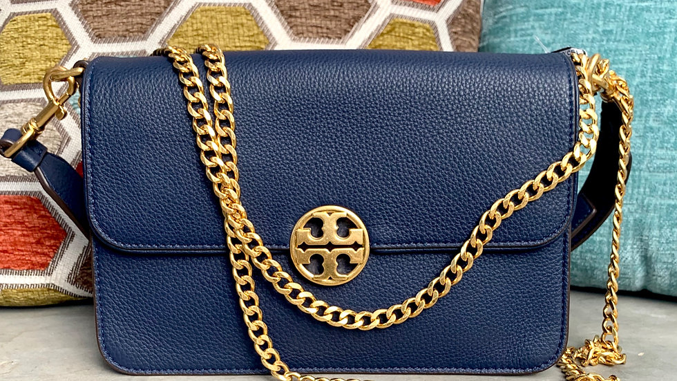 Tory Burch Navy Blue Flap Bag