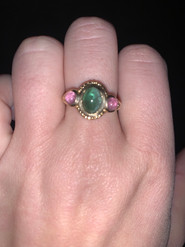 Genuine Green and Pink Tourmaline Ringe