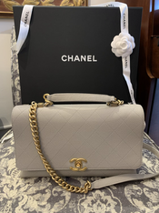 SOLD Chanel Quilted Top Handle Flap 19P