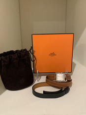 SOLD Hermès Cape Cod Stainless Steel & Leather Strap Watch. New, full set.