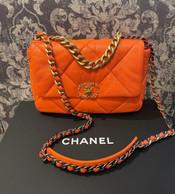 SOLD Chanel 20S small flap, in orange goatskin