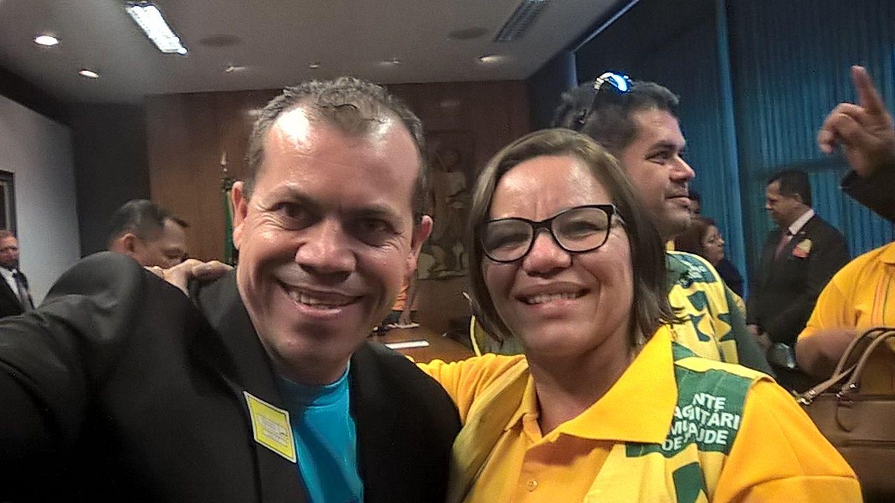 O presidente Jailson, do Sindicomunitario/SP, e a presidenta Ilda Angélica, da Conacs, estão unidos pela defesa dos ACS e ACE de todo o Brasil. (Foto: José jailson)
