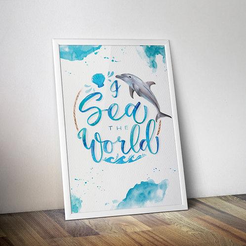 """Poster A3 """"I Sea the World"""" Delfin"""
