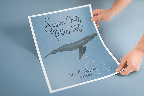 """Poster A3 """"Save Our Planet"""" Blauwal"""