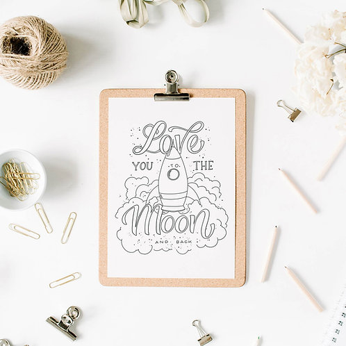 Printable - Vorlage Love you to the Moon and back