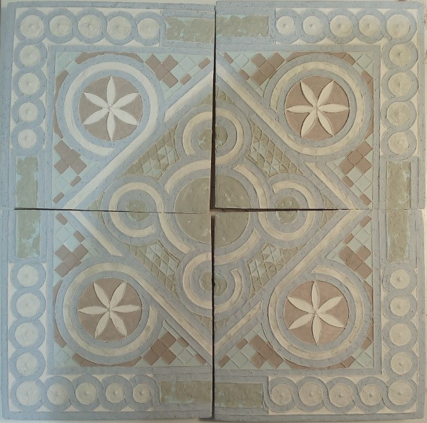 Tiles with glaze before firing