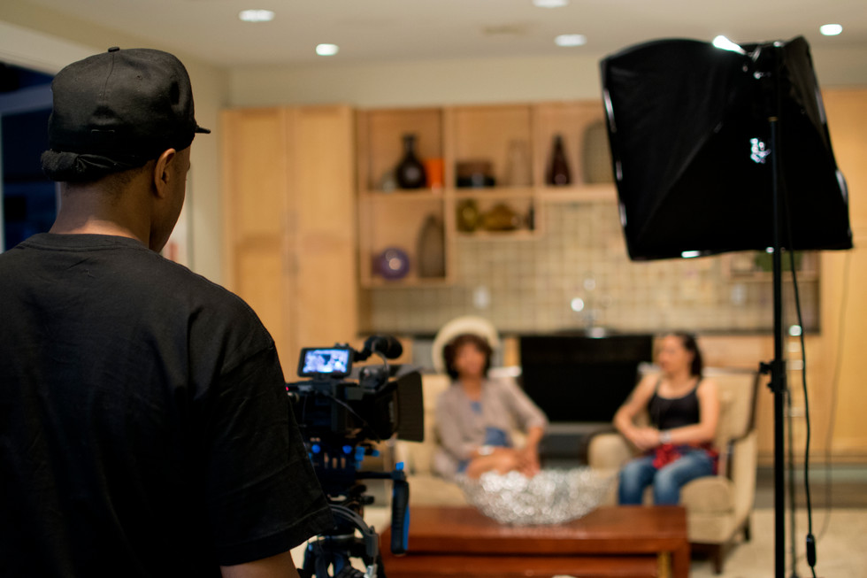 On set of Behind the Grind web series talk show.