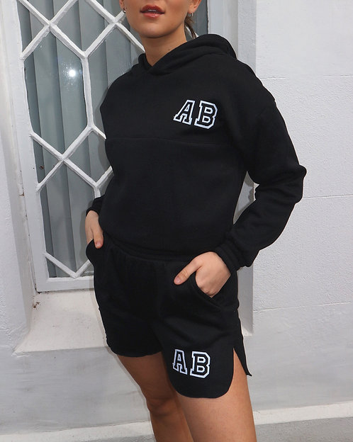 Patch Initial Short Hooded Tracksuit - Black
