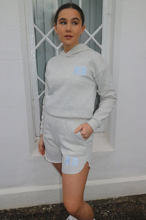 Patch Initial Short Hooded Tracksuit - Grey