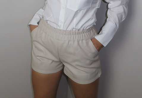 Whatever The Faux Leather Cream Shorts