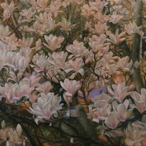 Blütengarten 2017 Öl auf Leinwand 95 x 160 cm