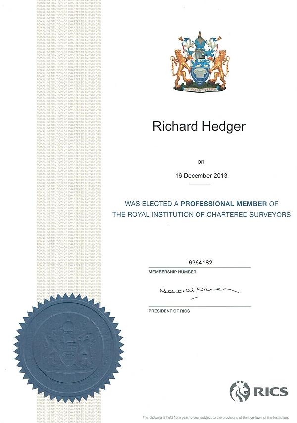 RICS Membership Certificate