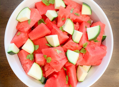 Fresh Watermelon & Cucumber Salad w/ Mint