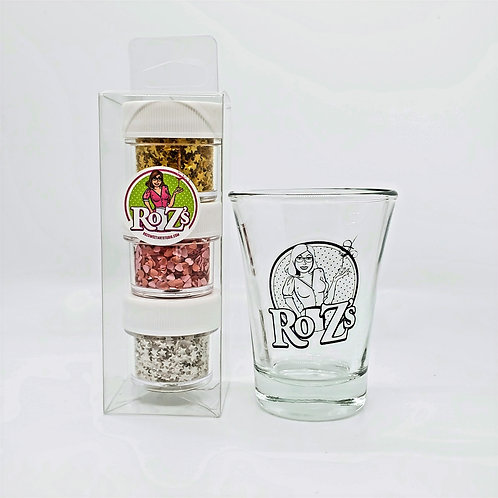 Ro Z's 3-Pak Edible Shimmer Kit w/Logo Shot Glass