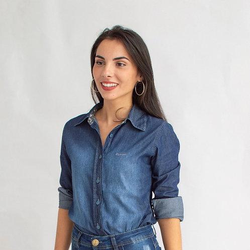 Camisa Jeans Com Floral Feminina