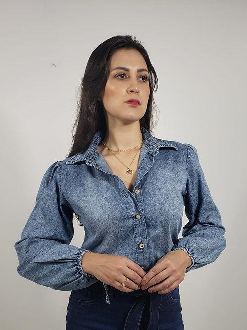 Camisa Jeans Marmorizada Feminina