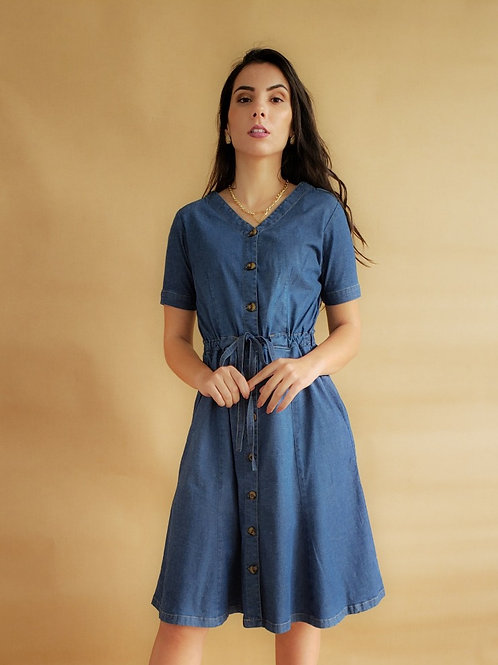 Vestido Midi Jeans Evasê