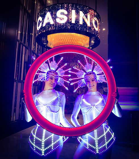 Entertainment ideas for wedding. LED performers with LED picture frame