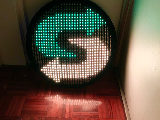 Testing a client's logo on the shield, for a show on the Gold Coast in June with the LED dancers