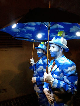 The Cloud Men, roving entertainers walking at Sydney Vivid Festival.