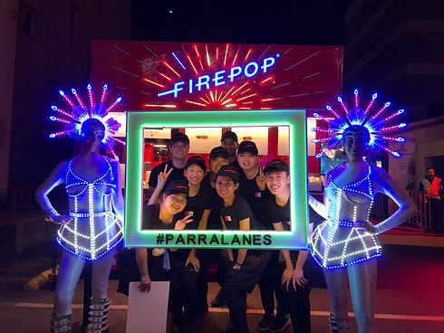 Led performers entertaining at Parralanes festival in 2019. Available for booking