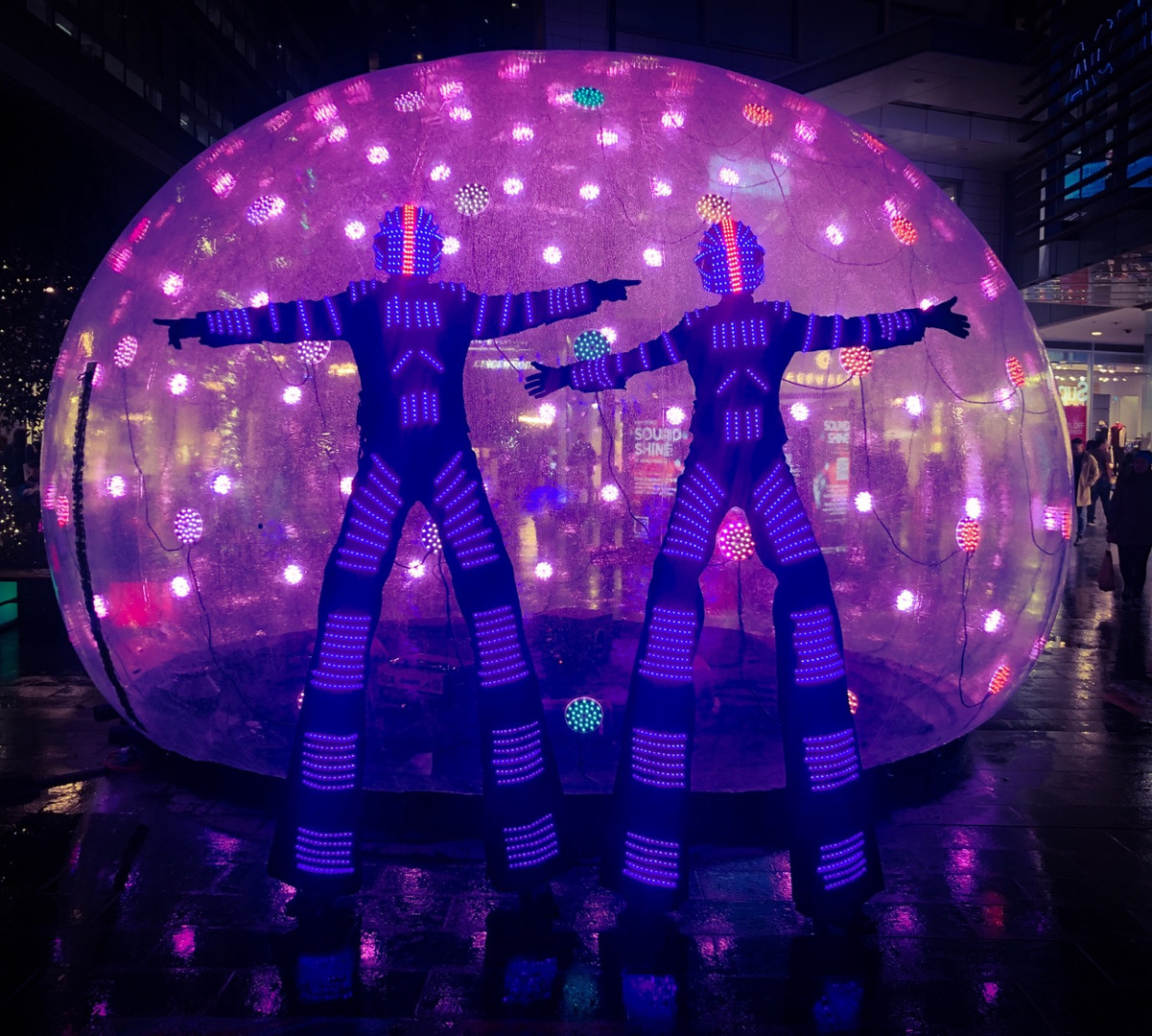 Led Robot Stilwalkers at Vivid Festival