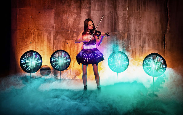 Led performer playing violin for a private function in Sydney, Australia.