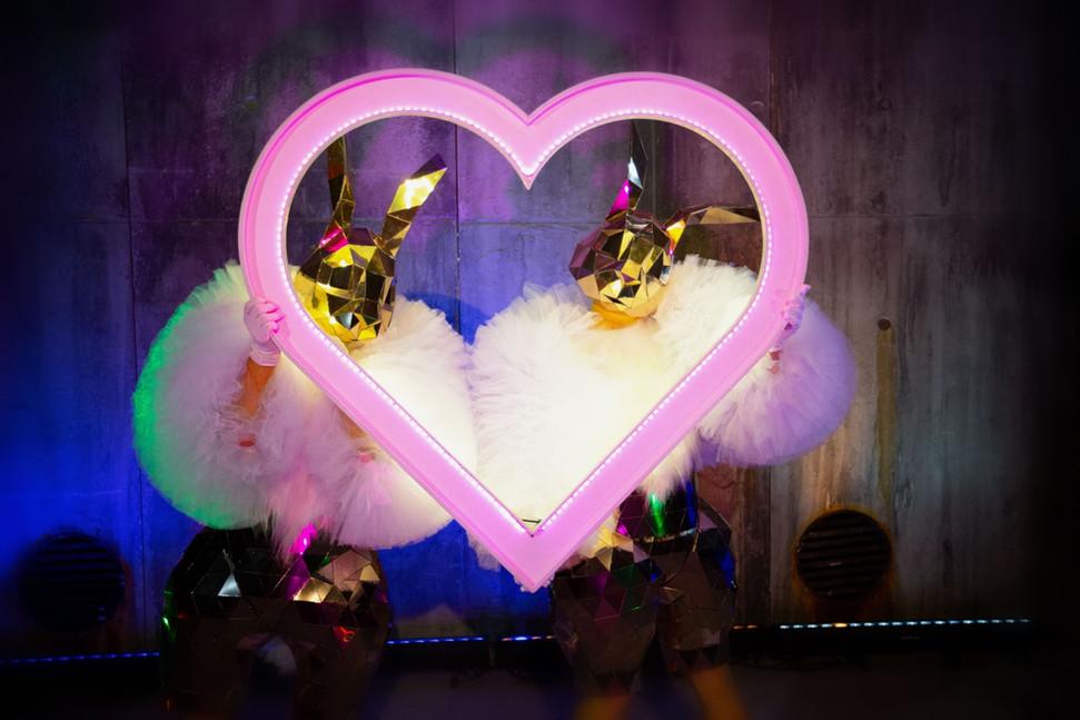 Mirror Bunnies and Love Heart Frame