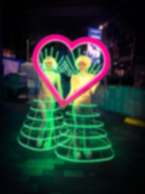 LED cage costumes for hire in Sydney, LED peerformances