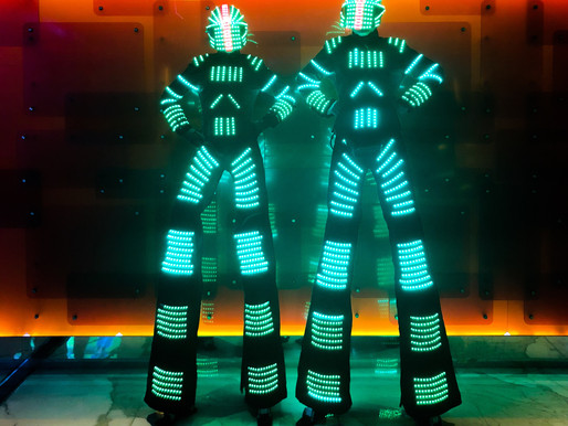 Another night at the Star casino. The Led Robots illuminating the night. The Robotsare available fo
