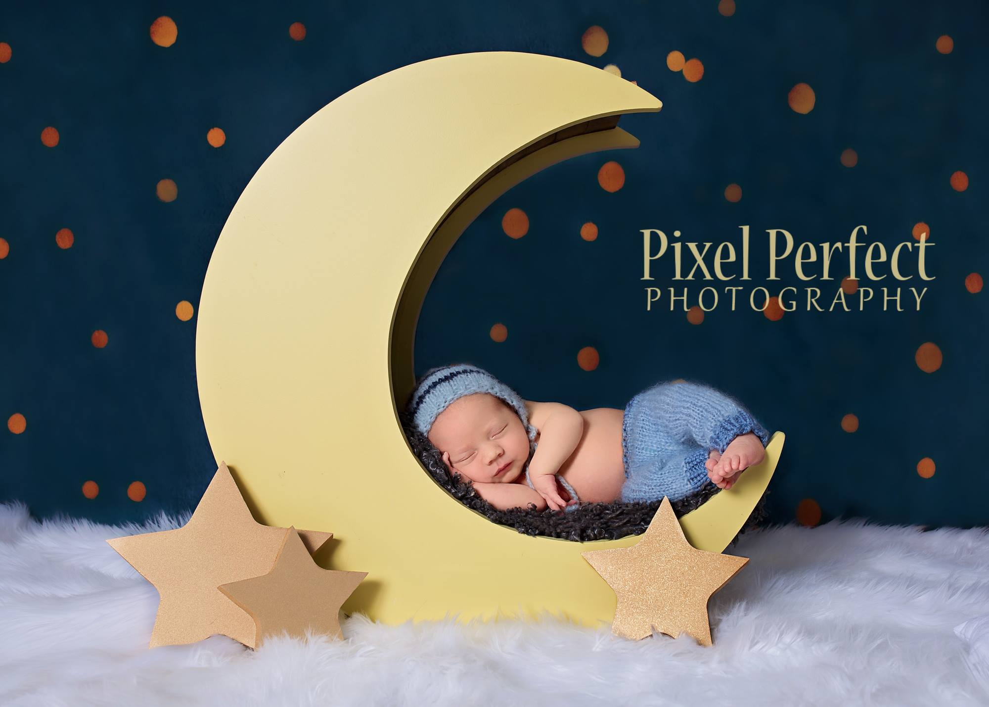 Newborn baby boy on moon