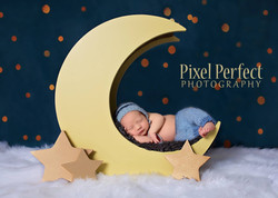 Newborn baby boy on moon