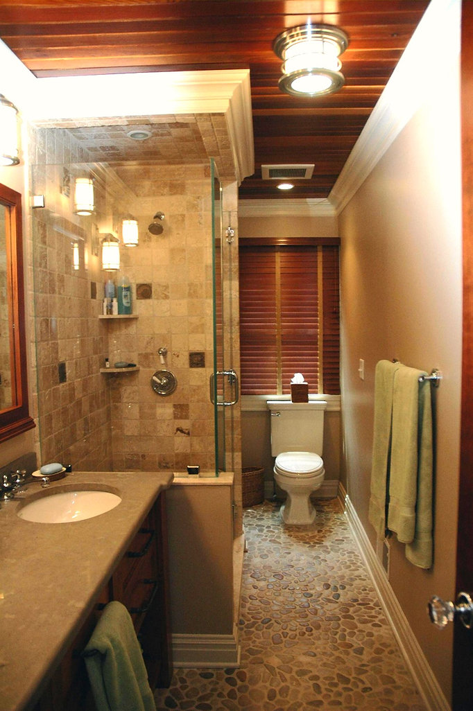 Contemporary, Addition, Alteration, Vacation Home, Bathroom, Stone Flooring, Wood Ceiling, Glass Enclosure Shower, Westfield, New Jersey, Architect