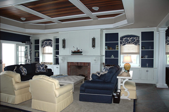 Contemporary, Addition, Alteration, Vacation Home, Living Room, Coffered Ceiling, Built-In Cabinetry, Brick Fireplace, Westfield, New Jersey, Architect