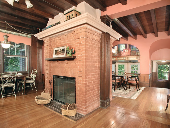 Eclectic, Craftsman, Addition, Alteration, Historic Preservation, Exposed Beam Ceiling, Double Sided Fireplace, Westfield, New Jersey, Architect