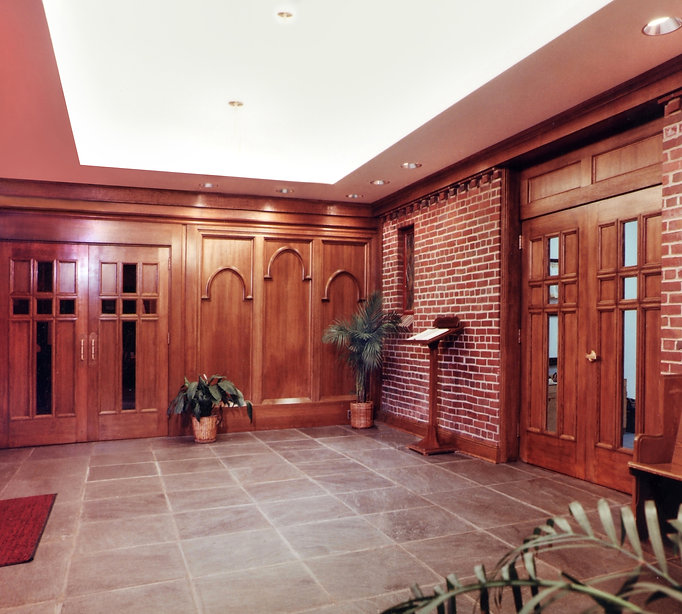 Religious, Church, Stained Glass WIndows, Wood Doors, Narthex, Alteration, Addition, Westfield, New Jersey, Architect