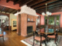 Eclectic, Craftsman, Addition, Alteration, Historic Preservation, Dining Room, Exposed Beam Ceiling, Double Sided Fireplace, Westfield, New Jersey, Architect