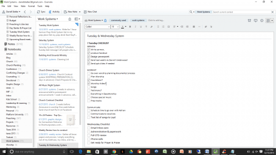 Evernote Screenshot - work systems