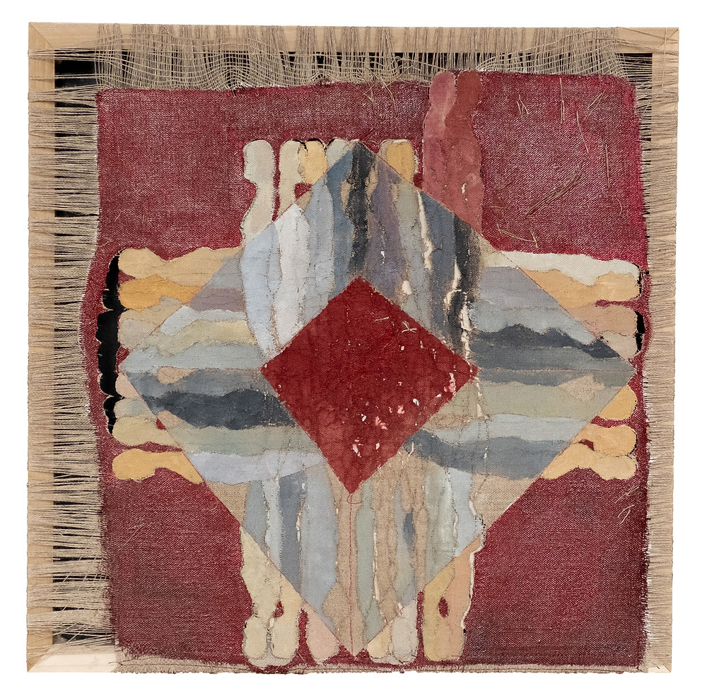 ©Sara Madandar, Bloody Roots, 2020, Laser, acrylic and stitchery on canvas, 18x18 inches