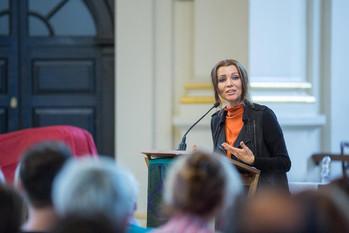 Elif Shafak giving a Caravan Lecture in London