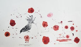 Hanaa Malallah, I've Learnt Something You Did Not Know 2016 Black and red ink on paper 60x100cm