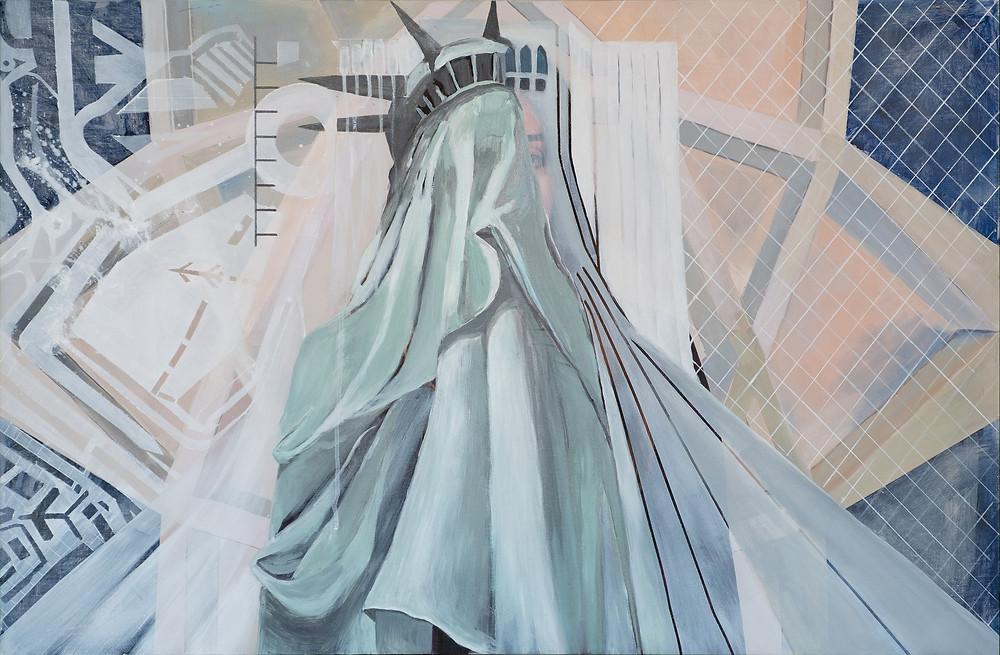 ©Sara Madandar, Freedom Tower (Meydoon Azadi), 2020,  Acrylic and photo print on canvas,36 x 41 inches