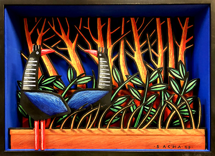 ©Sacha Schwarz, Love in the Meadow, 2019, Acrylic, coloured pencil, mixed media on wood, 60x80cm
